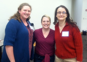 Laura after her presentation at the Mobile Writers Guild meeting in 2013, with President Carrie Cox and Vice-President Angela Quarles.